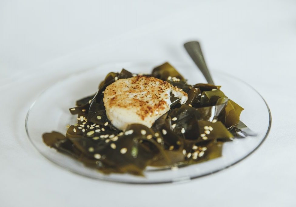 Scallop on Wakame salad